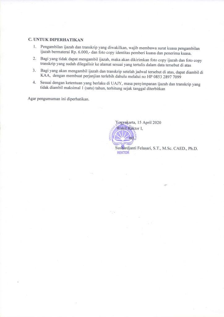 PROSEDUR DAN JADWAL PENGAMBILAN IJAZAH DAN TRANSKRIP ...